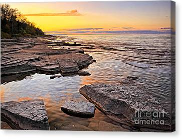 Sunset Reflections On Rock Millions Years Old Canvas Print by Charline Xia