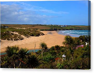 Crantock Beach North Cornwall England Uk Near Newquay With Palm Trees And Blue Sky Canvas Print by Michael Charles
