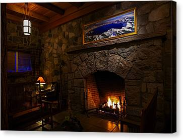 Crater Lake Lodge Fireside Relaxation Canvas Print by Scott McGuire