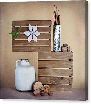 Crates With Flower Still Life Canvas Print by Tom Mc Nemar