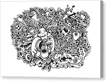 Crazy Doodle Monsters,doodle Drawing Style Canvas Print by Pakpong Pongatichat