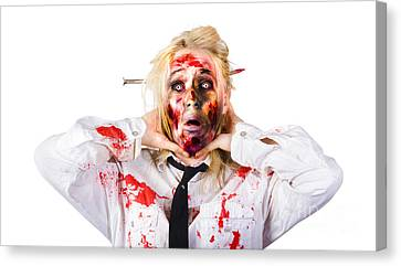 Crazy Zombie Business Woman In Struggle  Canvas Print by Jorgo Photography - Wall Art Gallery