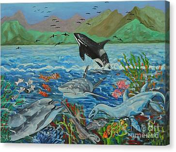 Creation Fifth Day Sea Creatures And Birds Canvas Print by Caroline Street
