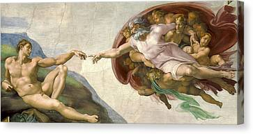 Creation Of Adam - Painted By Michelangelo Canvas Print by War Is Hell Store