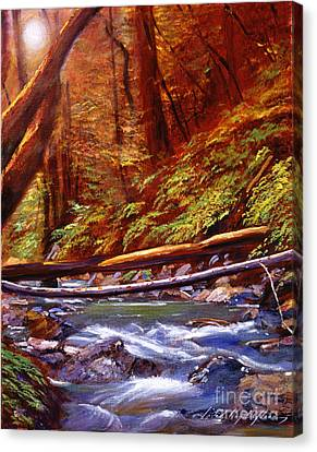 Creek Crossing Canvas Print by David Lloyd Glover