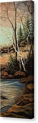 Creek Oak Birch Spruce Canvas Print by Kimberly Benedict