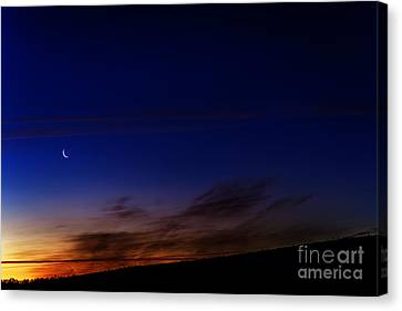 Crescent Moon And First Light Canvas Print by Thomas R Fletcher