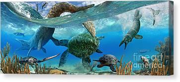 Cretaceous Marine Scene Canvas Print by Julius Csotonyi
