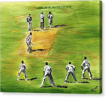Cricket Duel Canvas Print by Richard Jules