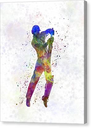 Cricket Player Batsman Silhouette 05 Canvas Print by Pablo Romero