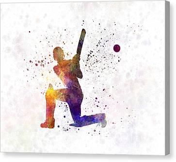 Cricket Player Batsman Silhouette 08 Canvas Print by Pablo Romero