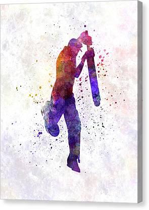 Cricket Player Batsman Silhouette 09 Canvas Print by Pablo Romero