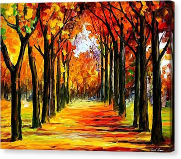 Crimson Alley - Palette Knife Oil Painting On Canvas By Leonid Afremov Canvas Print by Leonid Afremov