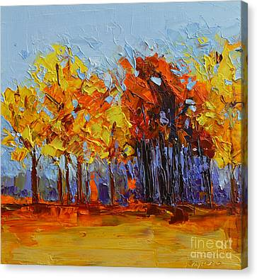 Crispy Autumn Day Landscape Forest Trees - Modern Impressionist Knife Palette Oil Painting Canvas Print by Patricia Awapara