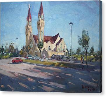 Croatian Centre-the Queen Of Peace Canvas Print by Ylli Haruni