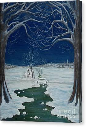Crossing At The Shrine Canvas Print by Anna Folkartanna Maciejewska-Dyba