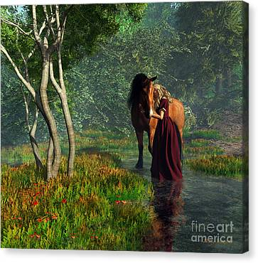 Crossing The Stream With Her Horse Canvas Print by Diana Voyajolu