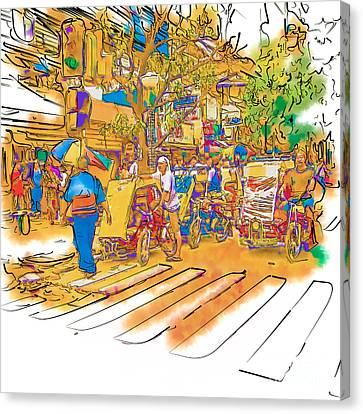 Crosswalk In The Philippines Canvas Print by Rolf Bertram