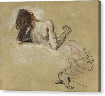 Crouching Woman Canvas Print by Ferdinand Victor Eugene Delacroix