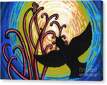 Crow And Full Moon In Winter Canvas Print by Genevieve Esson