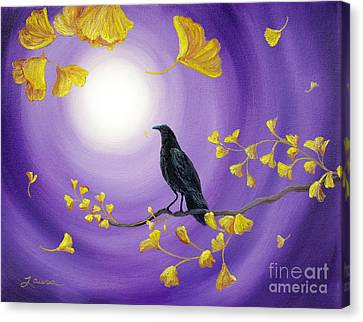 Crow In Ginkgo Leaves Canvas Print by Laura Iverson