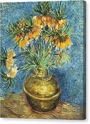 Crown Imperial Fritillaries In A Copper Vase Canvas Print by Vincent Van Gogh
