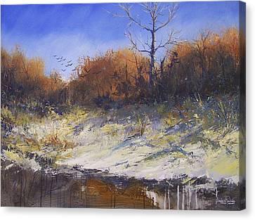 Crows Along The Cottonwood Canvas Print by Douglas Trowbridge