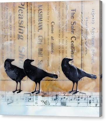 Crows Encaustic Mixed Media Canvas Print by Edward Fielding