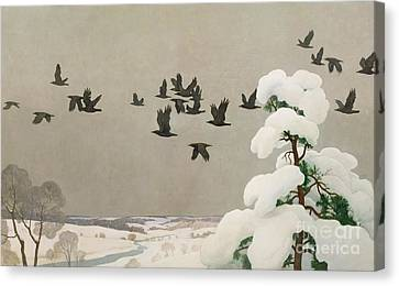 Crows In Winter Canvas Print by Newell Convers Wyeth