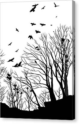 Crows Roost 2 - Black And White Canvas Print by Philip Openshaw