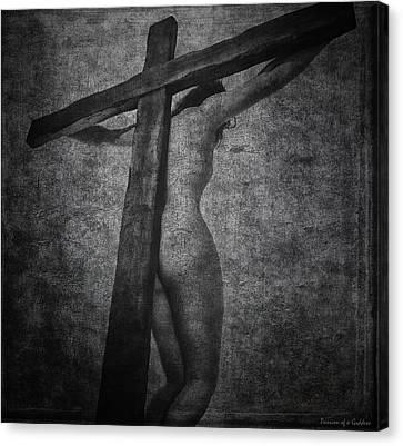 Crucifix In Dark Painting Canvas Print by Ramon Martinez