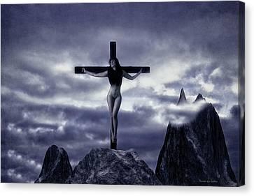 Crucifixion On The Mountain Canvas Print by Ramon Martinez