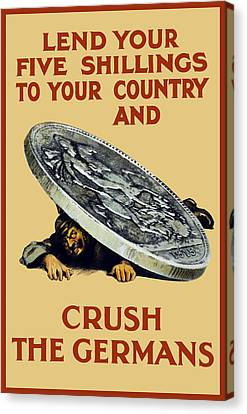 Crush The Germans - Ww1 Canvas Print by War Is Hell Store