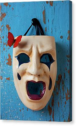 Crying Mask And Red Butterfly Canvas Print by Garry Gay