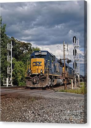 Csx Train Headed West Canvas Print by Pamela Baker