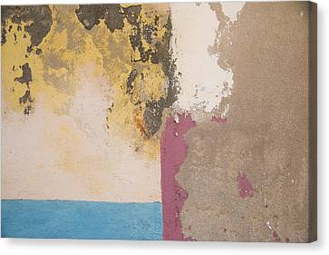 Cuba. Colorful Paint Deterioration And Wall Detail That Appears Like An Artistic Scene. Canvas Print by Emily M Wilson