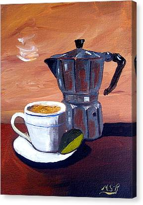 Cuban Coffee And Lime Tan Right Canvas Print by Maria Soto Robbins