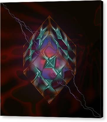 Cube With Thunders 01 Canvas Print by Aleksandar Zisovski