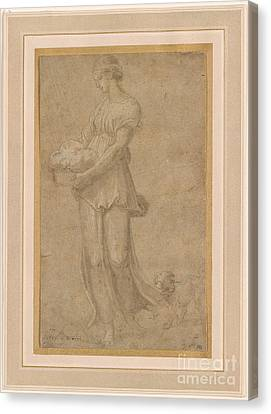 Cumaean Sibyl With A Dog Canvas Print by Celestial Images