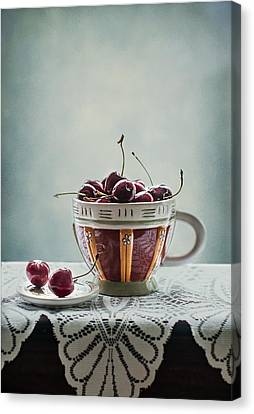 Cup Of Cherries Canvas Print by Maggie Terlecki