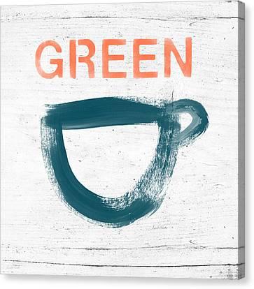 Cup Of Green Tea- Art By Linda Woods Canvas Print by Linda Woods