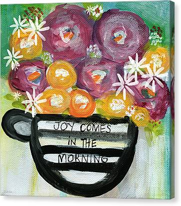 Cup Of Joy 2- Contemporary Floral Painting Canvas Print by Linda Woods