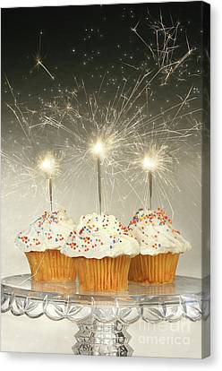 Cupcakes With Sparklers Canvas Print by Sandra Cunningham