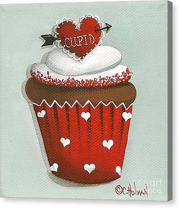 Cupid's Arrow Valentine Cupcake Canvas Print by Catherine Holman