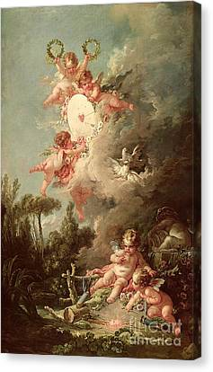 Cartoon Canvas Print featuring the painting Cupids Target by Francois Boucher