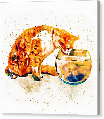 Curious Cat  Canvas Print by Marian Voicu