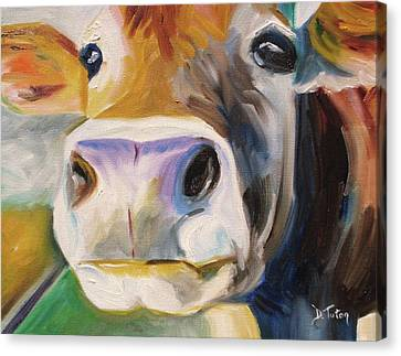 Curious Cow Canvas Print by Donna Tuten