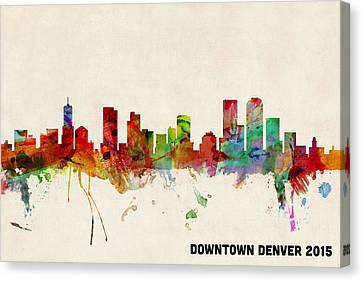Custom Denver Skyline 2015 Canvas Print by Michael Tompsett
