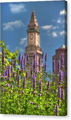 Custom House Clocktower From The Rose Kennedy Greenway - Boston Canvas Print by Joann Vitali