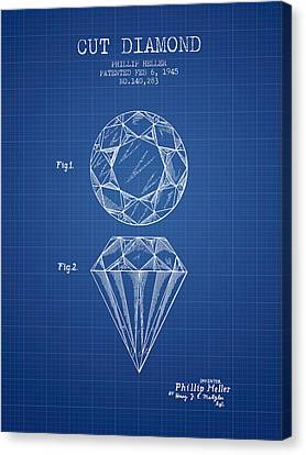 Cut Diamond Patent From 1873 - Blueprint Canvas Print by Aged Pixel
